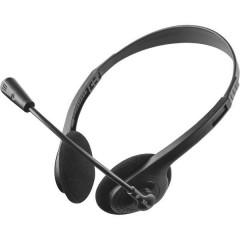 Primo Chat Cuffia Headset per PC Jack 3,5 mm Filo, Stereo Cuffia On Ear Nero