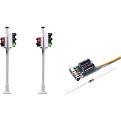 H0 Kit da 2 Semaforo con segnale attraversamento pedonale assemblato