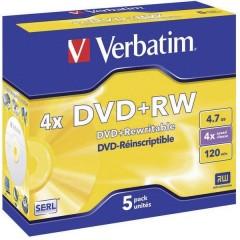 DVD+RW vergine 4.7 GB 5 pz. Jewel case riscrivibile, Superficie argentata opaca