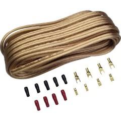Kit cavi per altoparlanti HiFi per auto 2 x 4 mm² 10.00 m placcato oro, incl. spina
