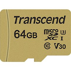 Premium 500S Scheda microSDXC 64 GB Class 10, UHS-I, UHS-Class 3, v30 Video Speed Class incl. Adattatore SD
