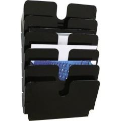 FLEXIPLUS 6 A4 QUER Porta depliant Nero, Trasparente DIN A4 orizzontale Numero scomparti 6 1 pz. (L x