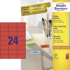 Etichette 70 x 37 mm Carta Rosso 2400 pz. Permanente Etichetta universale 100 fogli DIN A4
