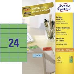 Etichette 70 x 37 mm Carta Verde 2400 pz. Permanente Etichetta universale 100 fogli DIN A4