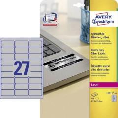 Etichette 63.5 x 29.6 mm Pellicola in poliestere Argento 540 pz. Permanente Etichetta per