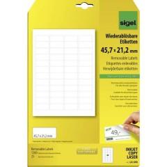 Etichette 45.7 x 21.2 mm Carta Bianco 1200 pz. Staccabile Etichetta universale 25 fogli DIN A4