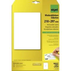 Etichette 210 x 297 mm Carta Bianco 25 pz. Staccabile Etichetta universale 25 fogli DIN A4