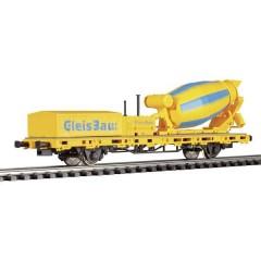 Carro a sponde basse con betoniera di GleisBau in scala H0