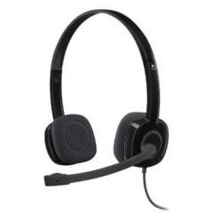 H151 Cuffia Headset per PC Jack 3,5 mm Filo, Stereo Cuffia On Ear Nero