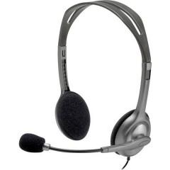H111 Cuffia Headset per PC Jack 3,5 mm Stereo, Filo Cuffia On Ear Grigio