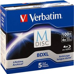 M-DISC Blu-ray XL vergine 100 GB 5 pz. Jewel case