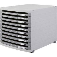 Cassettiera Grigio luminescente DIN A4, DIN B4, DIN C4 Numero cassetti: 10