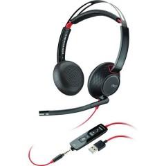 Blackwire C5220 Cuffia telefonica USB, Jack 3,5 mm Filo Cuffia On Ear Nero, Rosso