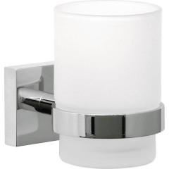 ekkro Bicchiere portaspazzolini Colla Cromo (lucido), Bianco (raso)