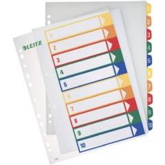 Divisore DIN A4, Fuori misura 1-10 Polipropilene Multicolore 10 schede etichettabile con PC