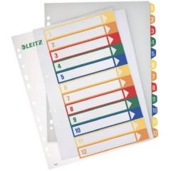 Divisore DIN A4, Fuori misura 1-12 Polipropilene Multicolore 12 schede etichettabile con PC