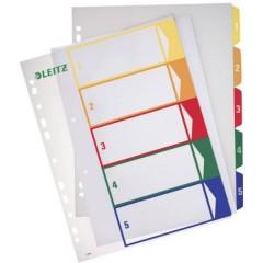Divisore DIN A4, Fuori misura 1-5 Polipropilene Multicolore 5 schede etichettabile con PC