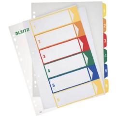 Divisore DIN A4, Fuori misura 1-6 Polipropilene Multicolore 6 schede etichettabile con PC