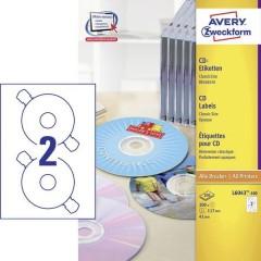 Etichette per CD Ø 117 mm Carta Bianco 200 pz. Permanente Opaco Inchiostro, Laser