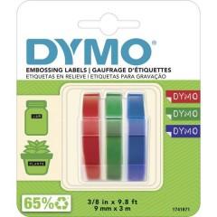 3D Nastro in rilievo per scrivere Kit da 3 Colore Nastro: Blu, Nero, Rosso Colore carattere: Bianco 9 mm 3 m