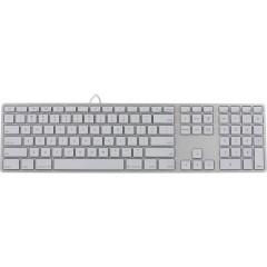 USB Tastiera Tedesco, QWERTZ, Macintosh Argento, Bianco Illuminato, Porta USB