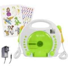 Bobby Joey Lettore CD per bambini CD, SD, USB incl. funzione karaoke , incl. Microfono Bianco, Verde