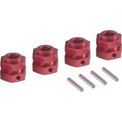 Mozzo ruota in alluminio 1:5 24 mm a 6 spigoli Rosso (metallico) 1 pz.