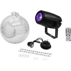 LED (monocolore) KIT palla a specchi con motore, con illuminazione a LED 30 cm