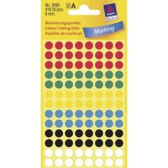 Etichetta di identificazione a forma di bollino Ø 8 mm Rosso, Verde, Giallo, Blu, Nero, Bianco 416