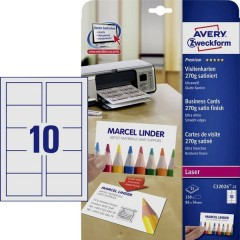 Biglietti da visita stampabili, bordi lisci 85 x 54 mm Bianco Ultra 250 pz. Formato carta: DIN