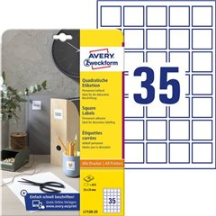 Etichette 35 x 35 mm Carta Bianco 875 pz. Permanente Etichetta per QR Code Inchiostro, Laser,