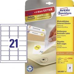 Etichette 63.5 x 38.1 mm Carta Bianco 630 pz. Staccabile Etichetta universale Inchiostro,