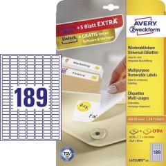 Etichette 25.4 x 10 mm Carta Bianco 5760 pz. Staccabile Etichetta universale Inchiostro,