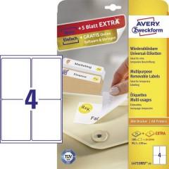 Etichette 99.1 x 139 mm Carta Bianco 120 pz. Staccabile Etichetta universale Inchiostro,