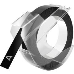 3D Nastro in rilievo per scrivere Colore Nastro: Nero Colore carattere: Bianco 9 mm 3 m