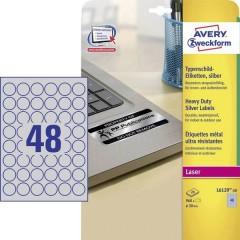 Etichette Ø 30 mm Pellicola in poliestere Argento 960 pz. Permanente Etichetta per cartellini e