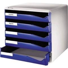Cassettiera Blu DIN A4 Numero scomparti: 5