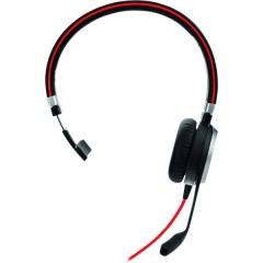 Evolve 40 MS Mono Cuffie Mono USB Stereo, Filo Cuffia On Ear Nero, Rosso
