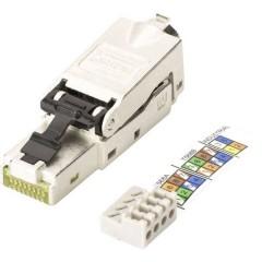 RJ45 Rete Connettore CAT 6A, Non classificata [1x LSA, IDC, Connessione rapida - 1x Spina RJ45, Spina RJ45 8p8c]
