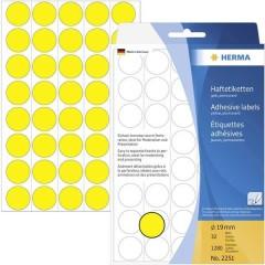 Etichette Ø 19 mm Carta Giallo 1280 pz. A tenuta permanente Etichetta di identificazione a forma di bollino