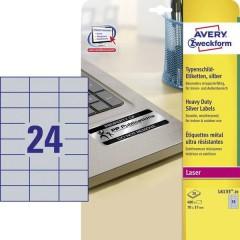 Etichette 70 x 37 mm Pellicola in poliestere Argento 480 pz. Permanente Etichetta per