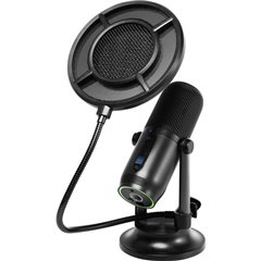 verticale Microfono USB da studio Tipo di trasmissione:Cablato Stativo, incl. cavo, incl. morsetto,