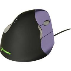 Evoluent 4 Cablato Mouse ergonomico Ottico Ergonomico Nero, Viola
