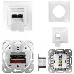 ESN 100 Presa di rete Da incasso Inserto con piastra centrale e telaio CAT 6A Bianco puro (RAL 9010)