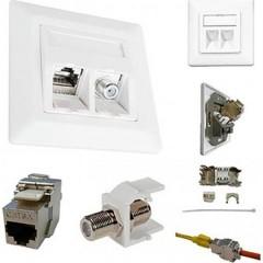 ESN 300 Presa di rete Da incasso Inserto con piastra centrale e telaio CAT 6A Bianco puro (RAL 9010)