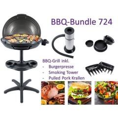 Bundle BBQ 724 Elettrico Brabecue grill con supporto Zona barbecue (diametro)=480 mm Nero