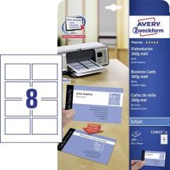 Biglietti da visita stampabili, bordi lisci 85 x 54 mm Bianco 200 pz. Formato carta: DIN A4
