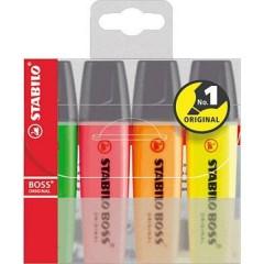 Evidenziatore STABILO BOSS® ORIGINAL 4 pz./conf. Giallo, Verde, Arancione, Rosa 2 mm, 5 mm 4 pz.