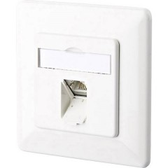 Presa di rete Da incasso Inserto con piastra centrale e telaio CAT 6 1 Porta Bianco puro
