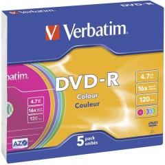 DVD-R vergine 4.7 GB 5 pz. Slim case colorato